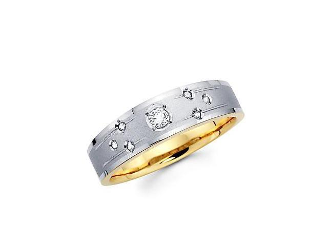 .15ct Diamond 14k White n Yellow Gold Mens Wedding Ring Band (G-H Color, SI2 Clarity)