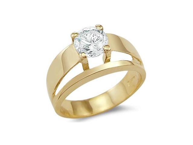 Solid 14k Yellow Gold Solitiare Engagement Wedding CZ Cubic Zirconia Ring Round Cut 1.0 ct