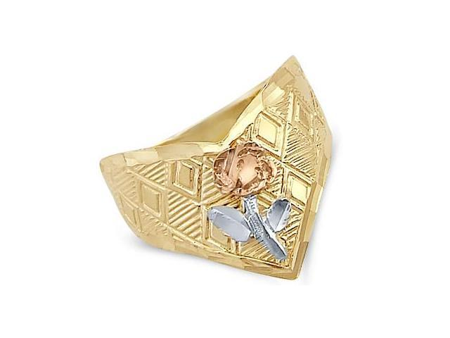 14k Yellow White and Rose 3 Tri-Color Gold Flower Ring