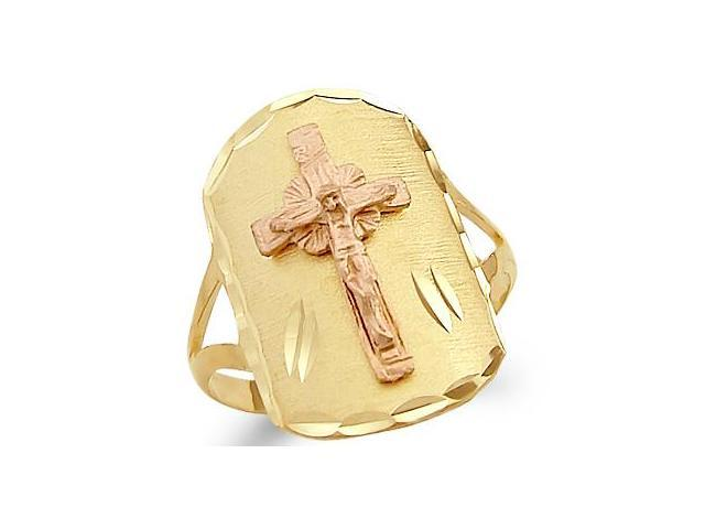 14k Yellow n Rose Two Tone Gold Big Cross Crucifix Ring