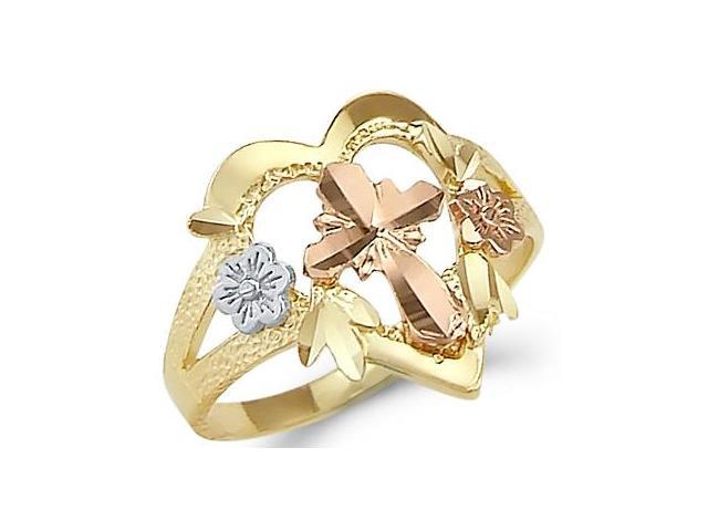 14k Tri Color Gold Cross Crucifix Flower Heart Ring