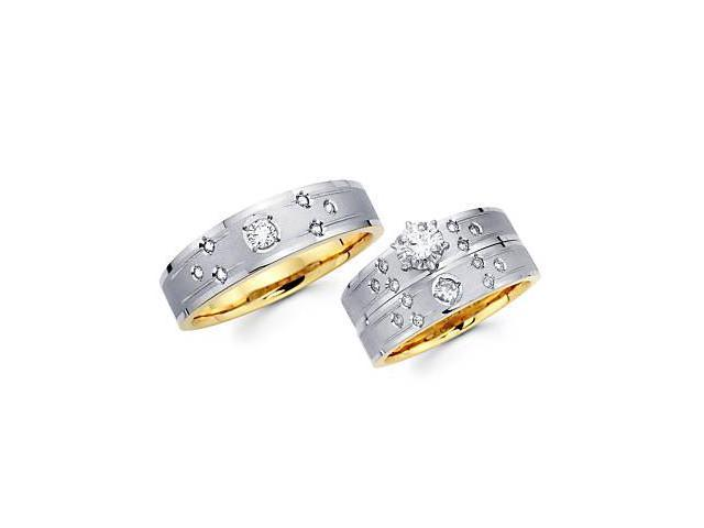 .42ct Diamond 14k Two Tone Gold Engagement Wedding Trio 3 Three Ring His and Hers Set (G-H, SI2)