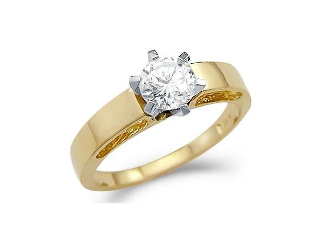 Solid 14k Gold Solitiare Engagement Wedding CZ Cubic Zirconia Ring Band New Round Cut 0.5 ct