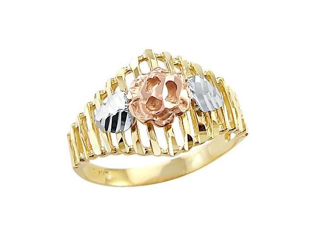 14k Yellow White n Rose Tri-Color Gold Flower Ring