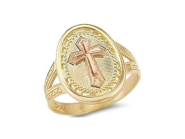 14k Yellow and Rose Two Tone Gold Cross Crucifix Ring .