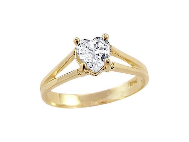 Solid 14k Yellow Gold Heart CZ Cubic Zirconia Ladies Solitaire Wedding Ring 0.5 ct
