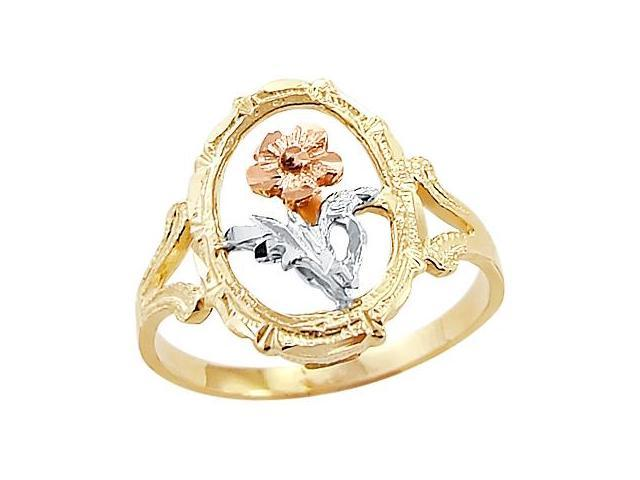 14k Yellow White n Rose Gold 3 Three Color Flower Ring