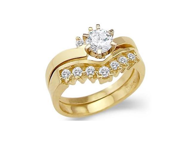 New Solid 14k Yellow Gold Engagement Wedding Set CZ Cubic Zirconia Ring Band Round Cut 1.0 ct