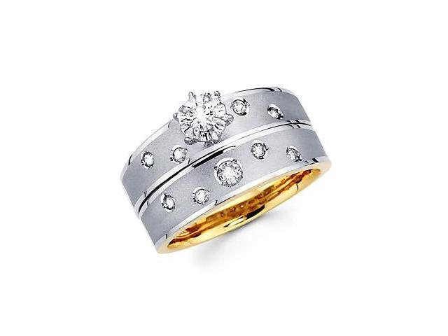 .29ct Diamond 14k White and Yellow Gold Engagement 2 Ring Set (G-H Color, SI2 Clarity)