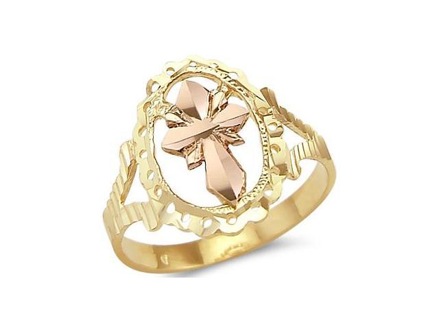 New 14k Yellow n Rose Two Tone Gold Cross Crucifix Ring