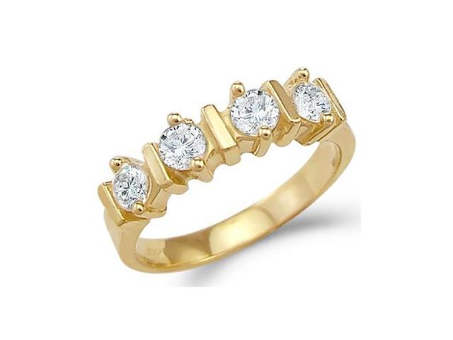 Solid 14k Yellow Gold Channel Set CZ Cubic Zirconia Wedding Band Ring New 1.25 ct