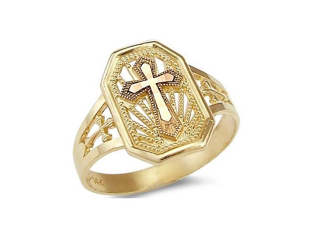 14k Yellow and Rose Gold 2 Two Tone Cross Crucifix Ring