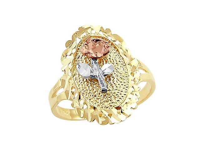 14k Yellow White and Rose Tri 3 Color Gold Flower Ring