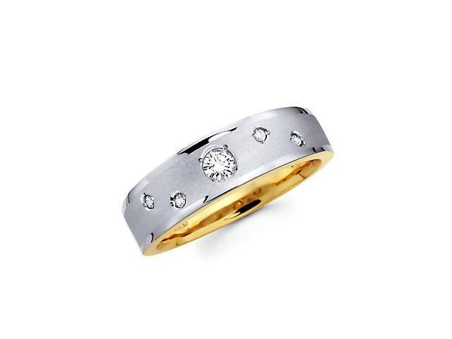 .21ct Diamond 14k White n Yellow Gold Mens Wedding Ring Band (G-H Color, SI2 Clarity)