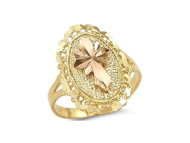 14k Yellow and Rose Gold Cross Crucifix Religious Ring