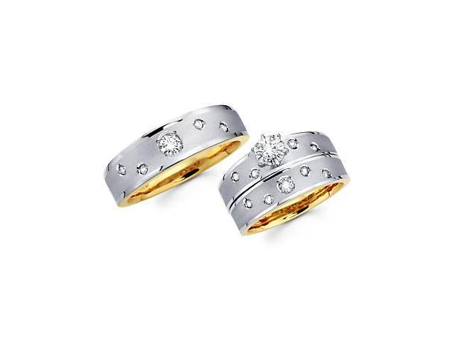 .50ct Diamond 14k Two Tone Gold Engagement Wedding Trio 3 Three Ring His and Hers Set (G-H, SI2)