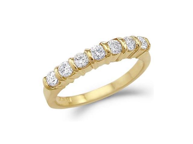 Solid 14k Yellow Gold New Channel Set CZ Cubic Zirconia Wedding Band Ring 1.25 ct