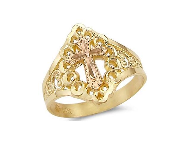 14k Yellow n Rose Gold 2 Two Tone Crucifix Cross Ring