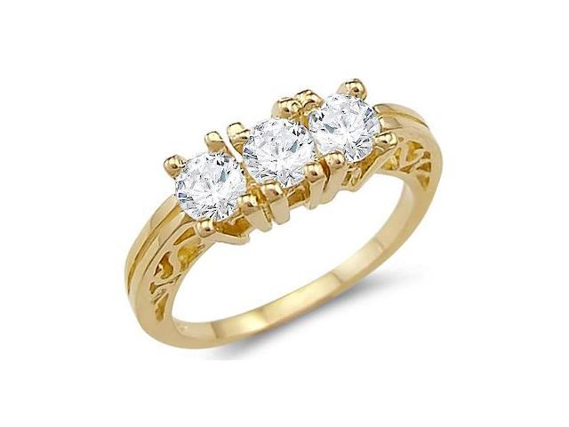 Solid 14k Yellow Gold Three Stone CZ Cubic Zirconia Engagement Wedding Ring Round Cut 1.25 ct