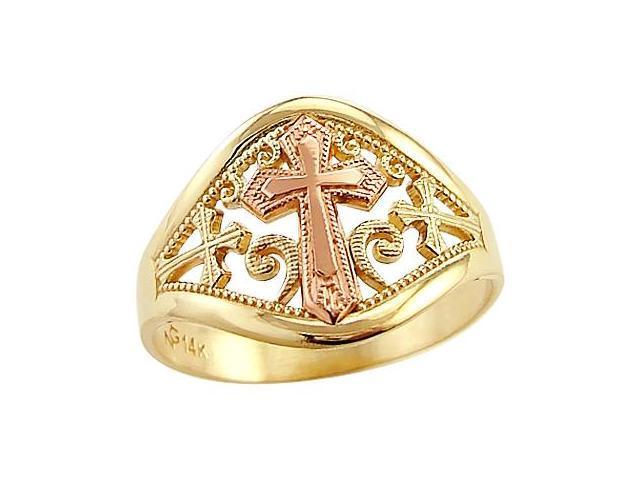 14k Yellow n Rose Gold 2 Two Tone Cross Crucifix Ring