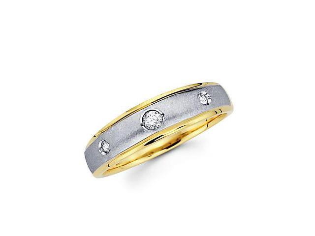 .10ct Diamond 14k Yellow and White Gold Wedding Ring Band (G-H Color, SI2 Clarity)