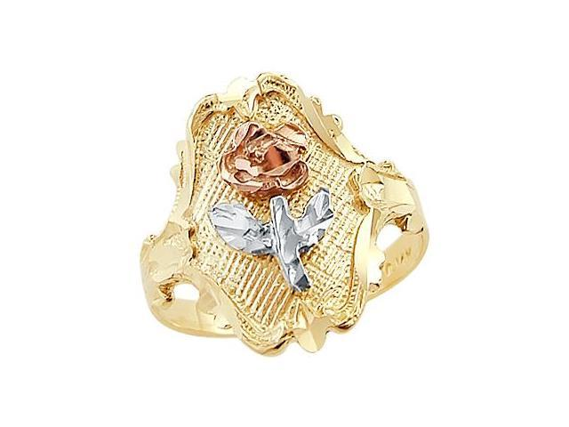 New 14k Yellow White n Rose Tri-Color Gold Flower Ring