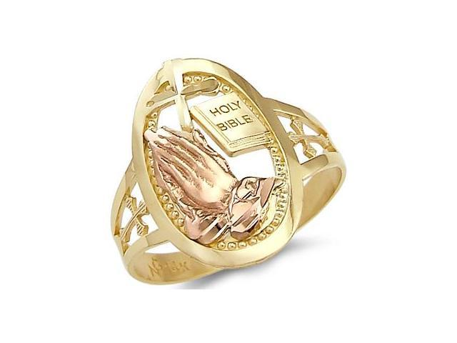 14k Yellow and Rose Gold Cross Praying Hands Bible Ring