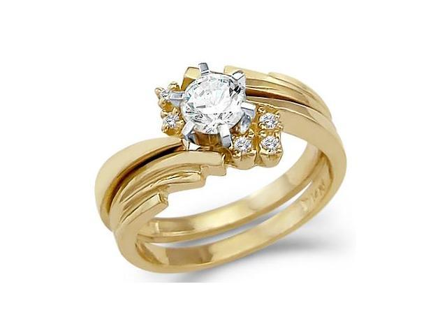 Solid 14k Yellow Gold Engagement Wedding Set CZ Cubic Zirconia Ring and Band Round Cut 1.0 ct