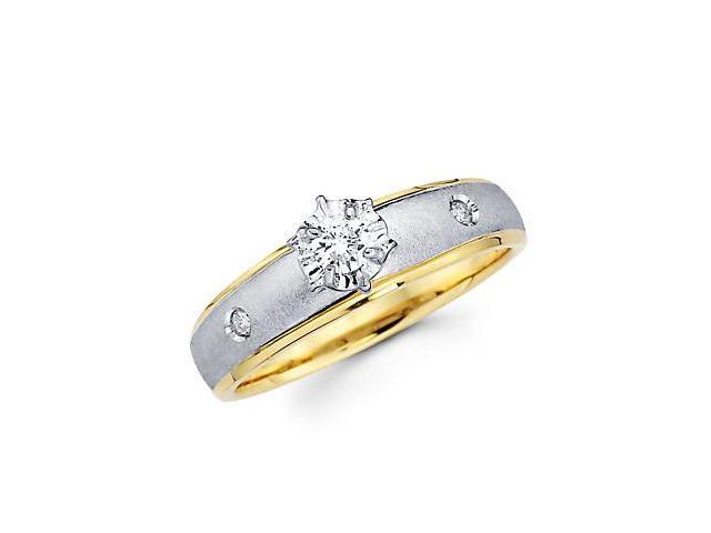 .13ct Diamond 14k Yellow Two 2 Tone Gold Engagement Ring (G-H Color, SI2 Clarity)