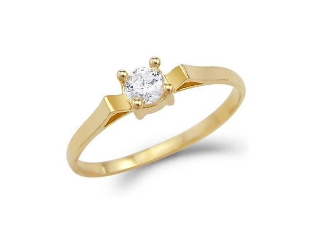 Solid 14k Yellow Gold Small Solitiare Engagement CZ Cubic Zirconia Ring Band Round Cut 0.25 ct