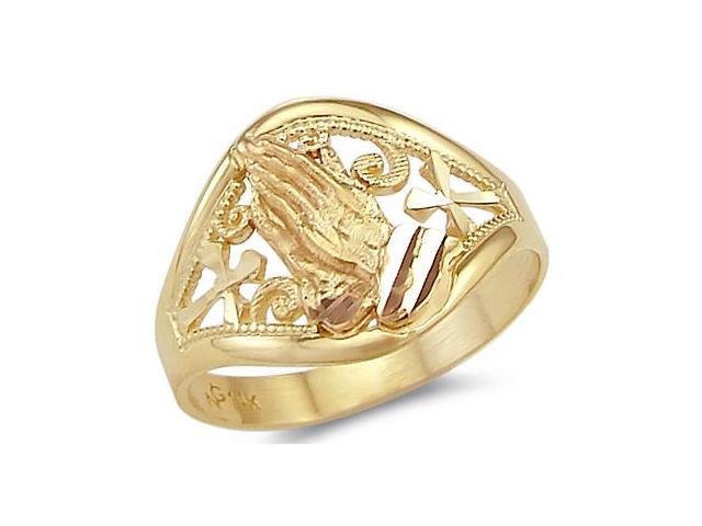 14k Yellow Rose Two Tone Gold Cross Praying Hands Ring