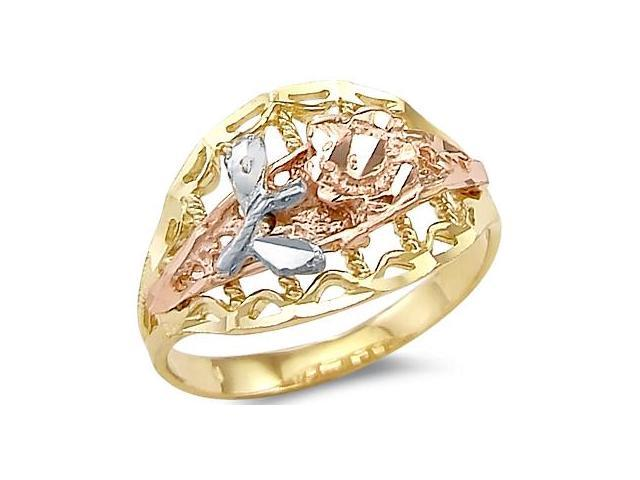 14k Yellow White n Rose 3 Three Color Gold Flower Ring