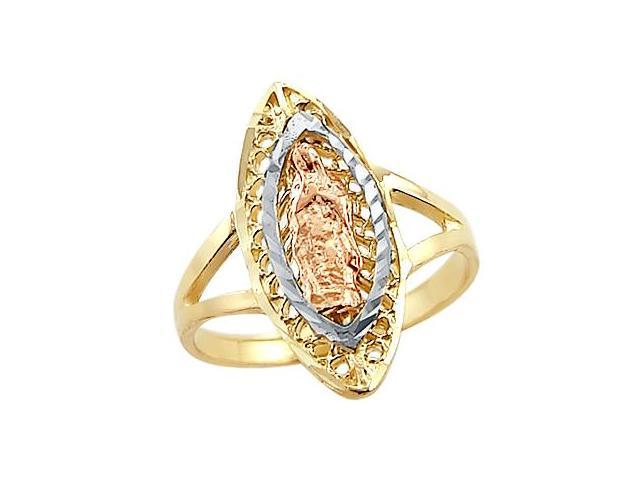 14k Tri Color Yellow White n Rose Gold Virgin Mary Ring
