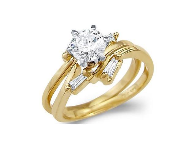 Solid 14k Yellow Gold Engagement Wedding Set CZ Cubic Zirconia Two Rings New Round Cut 1.0 ct