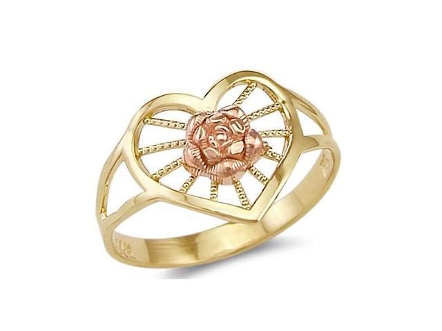 14k Yellow and Rose Gold Heart Love Rose Flower Ring