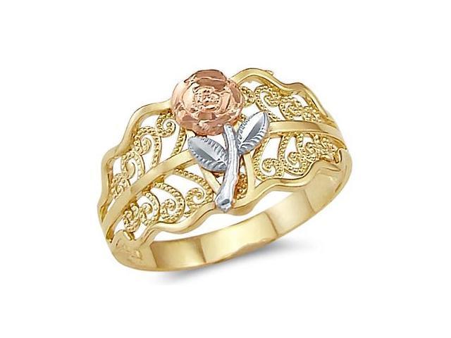 14k Yellow Tri-Color Gold Ladies Flower Rose Leaf Ring