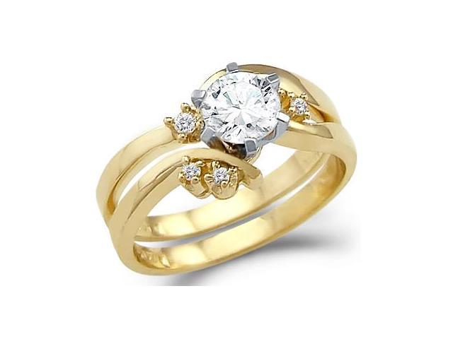 Solid 14k Yellow Gold Engagement Wedding Set CZ Cubic Zirconia Ring Band Round Cut 0.75 ct