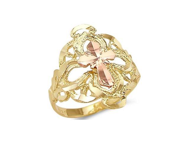 14k Yellow and Rose Two Tone Gold Cross Religious Ring