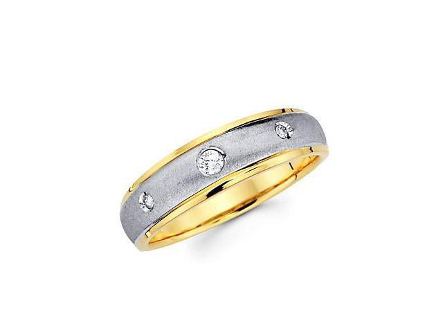 .10ct Diamond 14k Two Tone Gold Mens Solitaire Wedding Ring Band (G-H Color, SI2 Clarity)