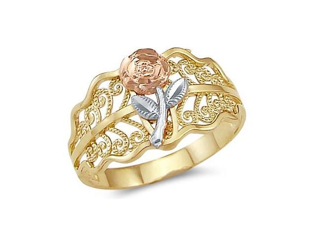 14k Yellow Tri-Color Gold Ladies Flower Rose Leaf Ring