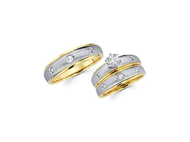 1/3ct Diamond 14k Two Tone Gold Engagement Wedding Trio His and Hers Ring Set (G-H, SI2)