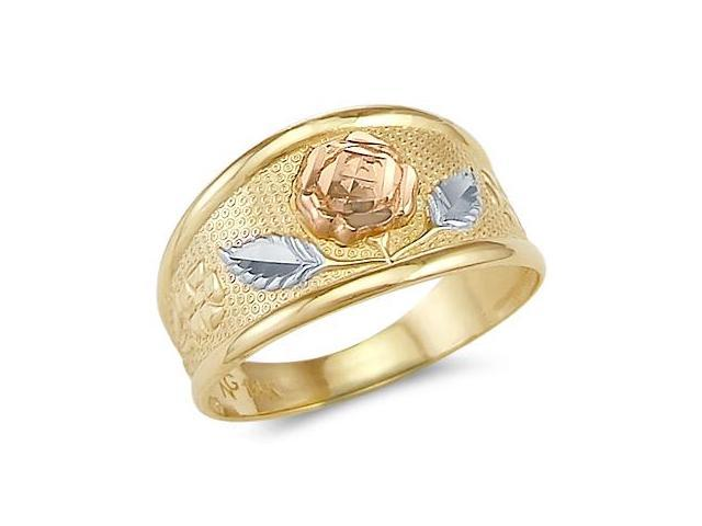 14k Yellow Tri-Color Gold Ladies Rose Flower Leaf Ring
