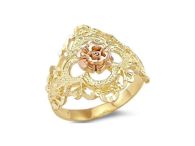 14k Yellow and Rose Gold Two Tone Ladies Flower Ring