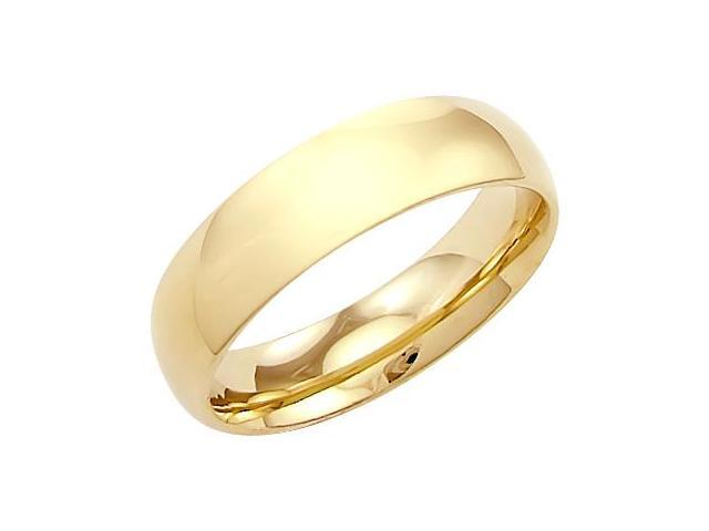 14k Solid Yellow Gold Plain Dome Wedding Heavy Ring Band 6MM - Size 9 - 6 Grams