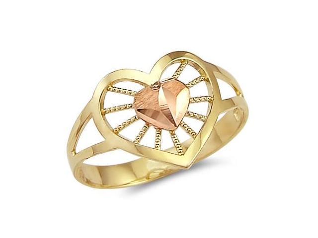 14k Yellow n Rose Gold 2 Two Tone Womens Heart Ring