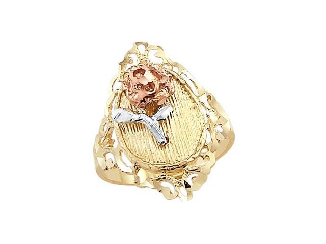 14k Yellow White n Rose Gold 3 Tri-Color Flower Ring