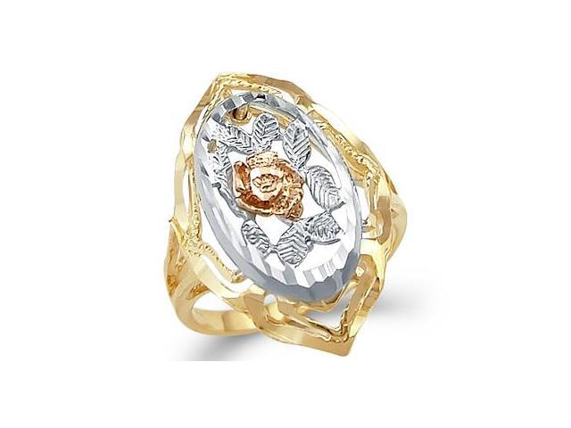 14k Yellow White n Rose Tri-Color Gold Rose Flower Ring