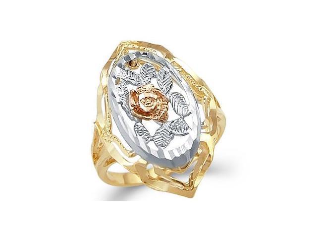 14k Yellow White n Rose Tri-Color Gold Rose Flower Ring
