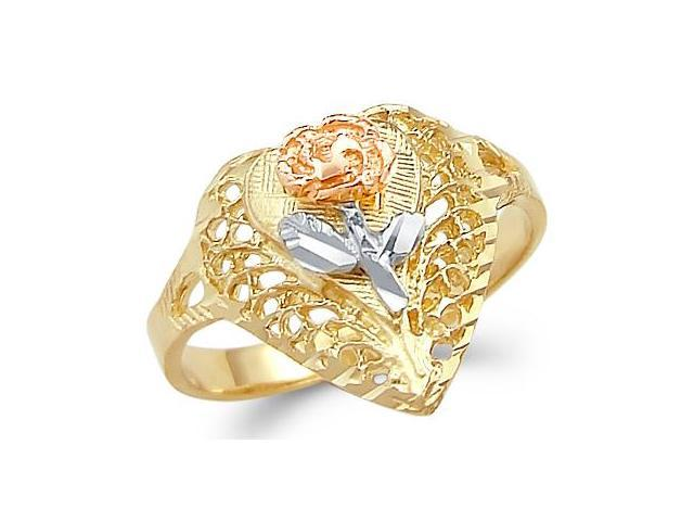 14k Yellow Tri-Color Gold Rose Heart Flower Love Ring