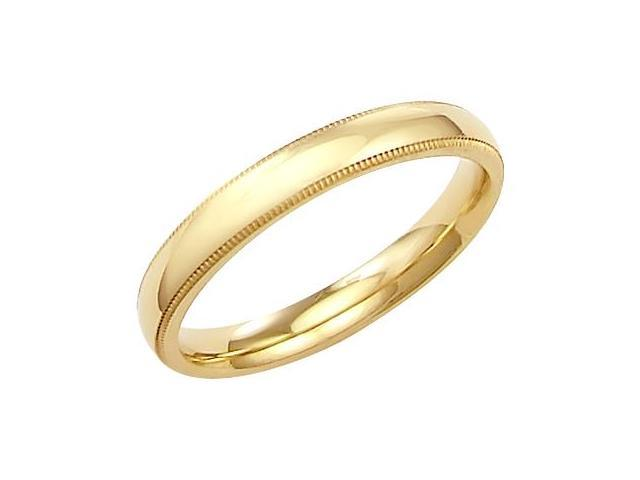14k Solid Yellow Gold Milgrain Wedding Band Ring 3MM - Size 9 - 3.4 Grams